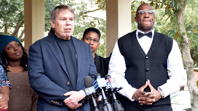 Lydell Grant (right) with his lawyer Mike Ware (left) of the Innocence Project of Texas in December 2019.