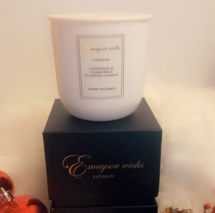 Bespoke Ribbed Scented Candle Lavender and Chamomile