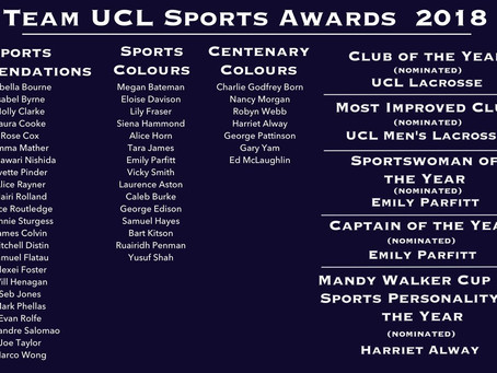 TeamUCL Sports Awards 2018