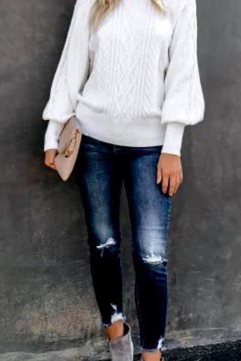 White Balloon Sleeve Sweater