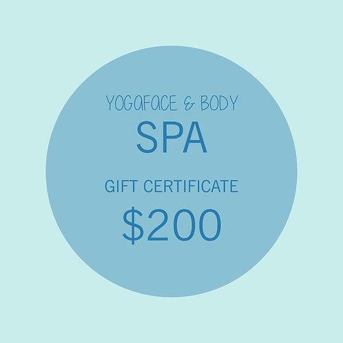 YogaFace & Body Spa Gift Certificate $200