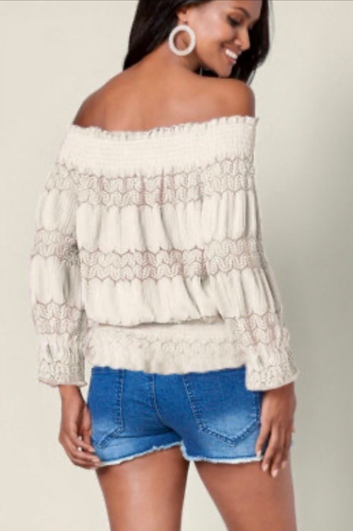 Cream Bare Shoulder Top
