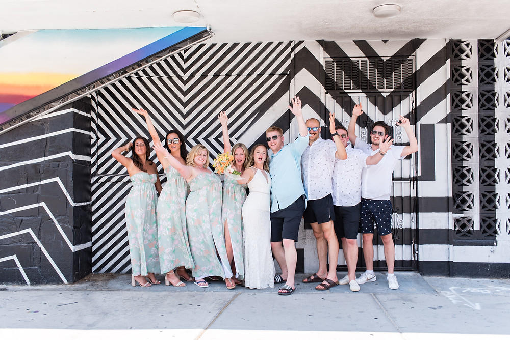 downtown wedding, las vegas, downtown las vegas, vegas wedding, las vegas photographer, las vegas wedding photographer, bridal party in downtown las vegas, art mural, las vegas art, dtlv, wedding, bride and groom, bridal party, bride, groom, vegas bride