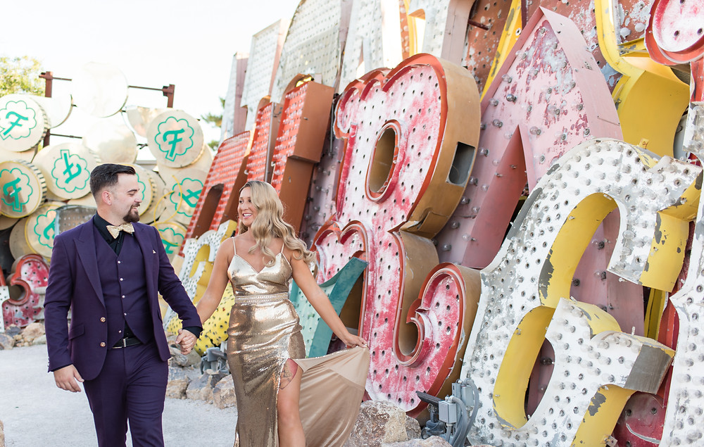 las vegas wedding, vegas bride, vegas bride and groom, vegas, las vegas, neon museum, neon boneyard, neon museum wedding, vintage, neon, vintage wedding, glam wedding, las vegas portraits, wedding, elopement, elope, vegas elopement