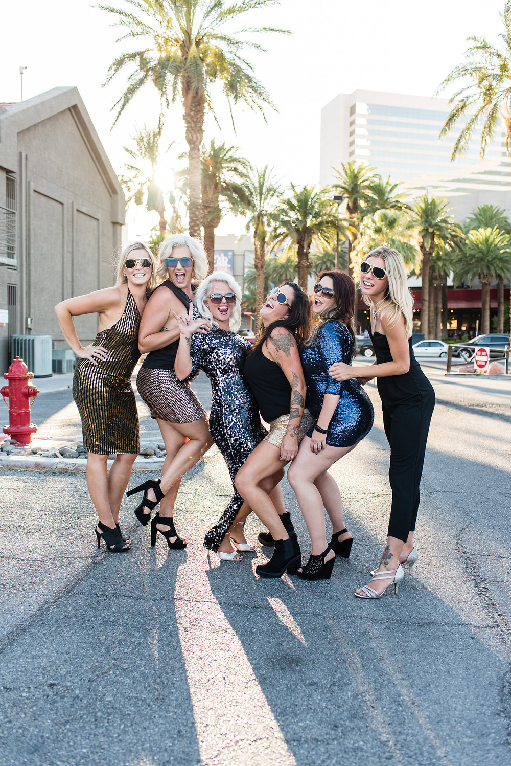 bridal party in las vegas, Nevada having a rad time