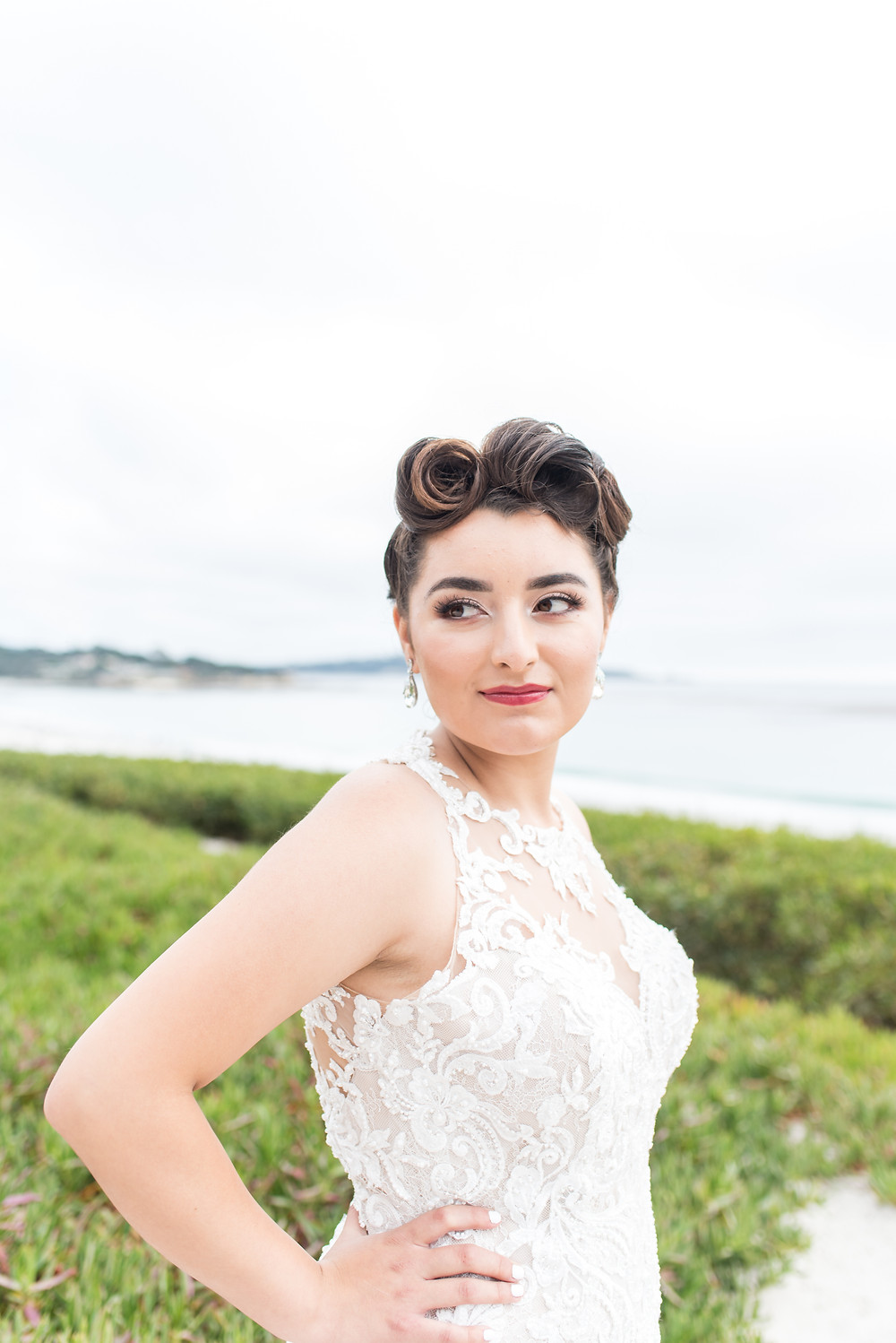 vintage bridal updo, victory rolls, pinup hair, monterey bridal portraits, monterey wedding photographer, las vegas wedding photographer, retro wedding, vintage wedding, retro, pin up, wedding photographer, beach wedding, carmel, carmel by the sea