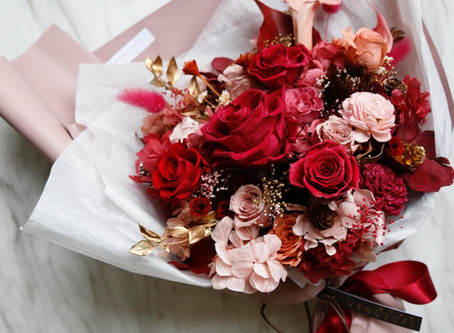 | 客製 | 送給媽咪的紅吱吱生日花束 Preserved Bouquet in Joyful Red for Mommy's Birthday