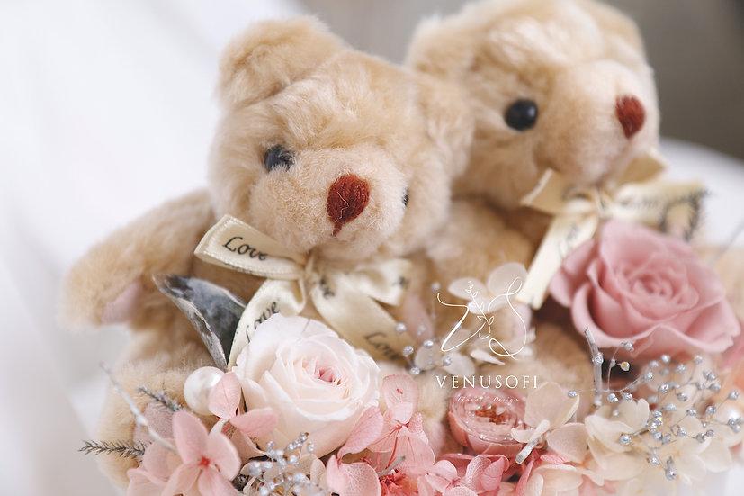 永遠在一起 - 紅粉小熊情侶組 Together Forever - Bear Couple Pink Flower