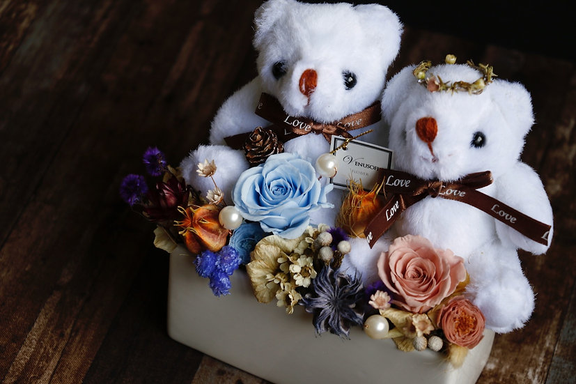 永遠在一起 - 小熊情侶組 Together Forever - Bear Couple Flower