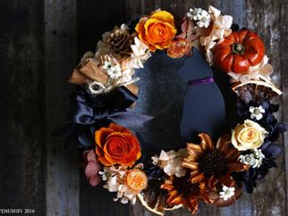 | 花禮 | 萬聖節黑貓花圈 Halloween Black Cat Wreath