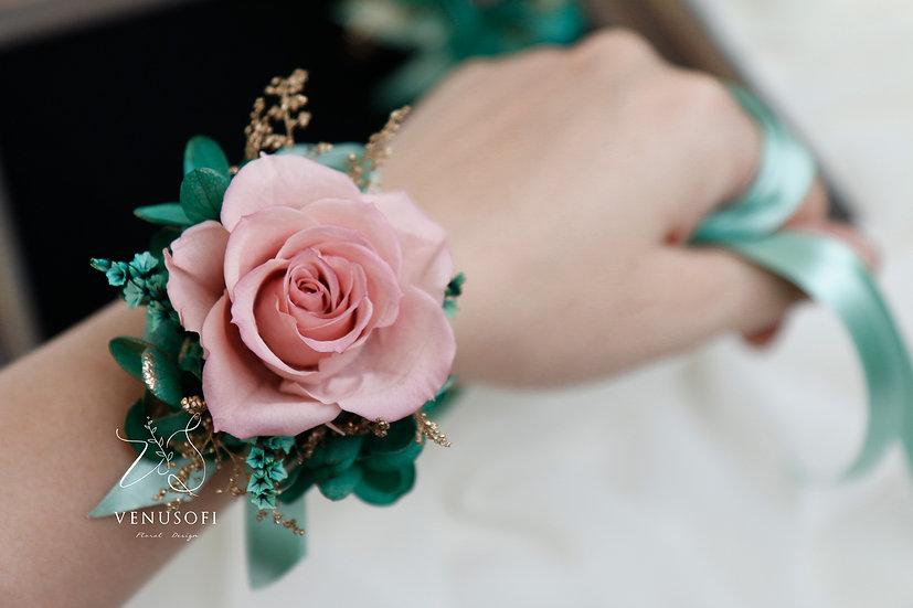 靜謐綠手腕花飾  Wedding Corsages