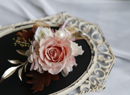 |花飾|粉紅玫金胸花&手腕花   Wedding Boutonnière & Corsage