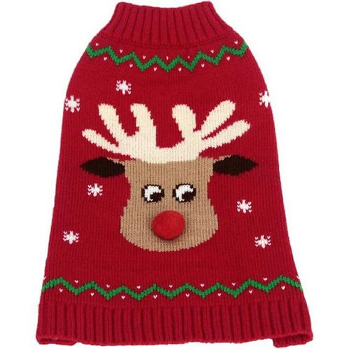 Animate Red Reindeer Christmas Dog Jumper