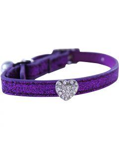 Happypet Glitter Heart Faux Leather Cat Collar Purple