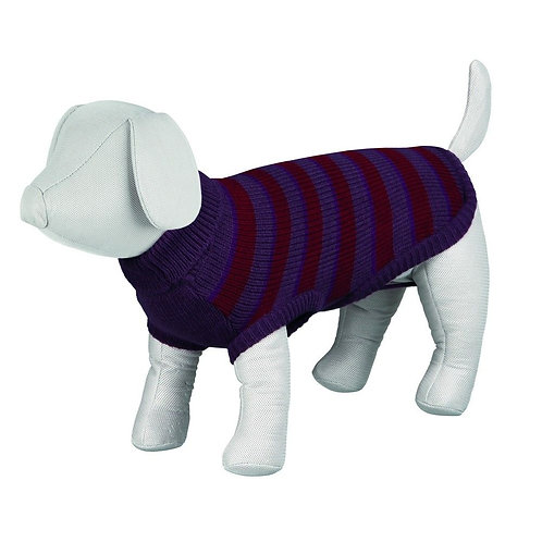 Trixie 24cm Pullover purple & Burgandy Stripe Dog Jumper