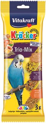 Vitakraft Budgie Trio Kracker Apricot & Fig, Honey & Sesame, Egg & Grass Seeds