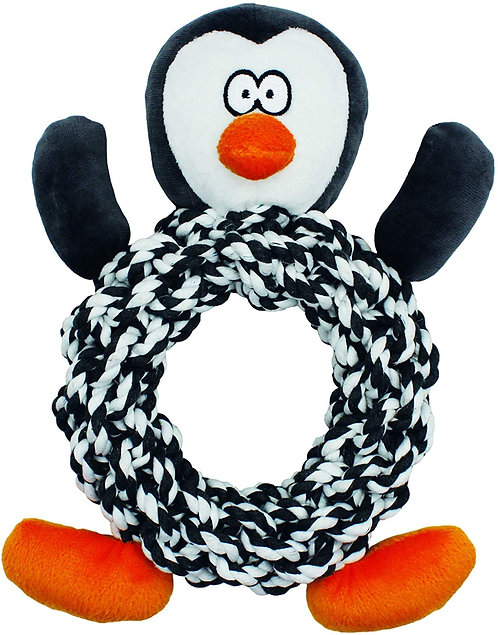 Knotty Ring Penguin Dog Toy by Happypet