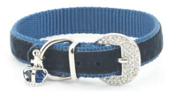 Ancol Small Bite  Blue Velvet Collar & Lead Set XS