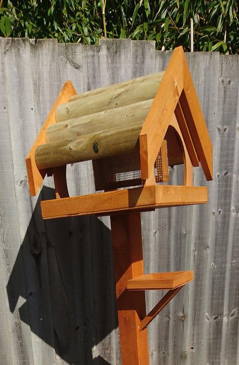 Log Top Bird Table with Nut Feeder
