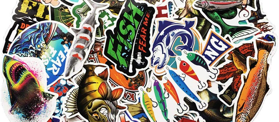 Vinyl Bass Fishing Stickers 65 PCs for Laptop Ipad Car Luggage Water Bottle.