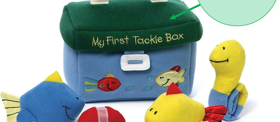 Baby My First Tackle Box Custom Personalized Stuffed Fishing Plush Play-set, 5 Pieces.