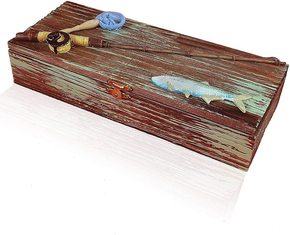 wooden nautical fishing box.