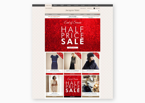 Winter sale promotion on the Jacques Vert Group homepage