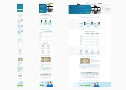 Full page designs for the card machine page