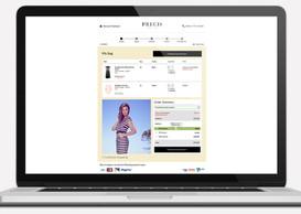 Desktop view, checkout step 1 for Precis Petite