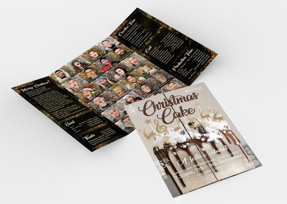 Programme gate fold design - designed to be like a cast a show bursting from a cake