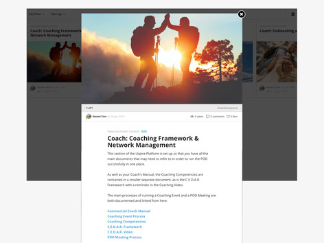 'Coach' view of the Framework page with guides on coaching, found within the platform