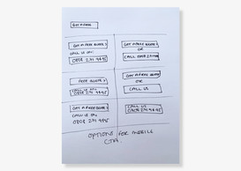 Button and phone number wireframe layout test options for PPC hero banners