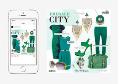 Emerald colour concept social media post design