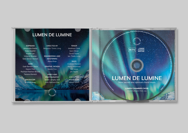 CD in case and booklet back cover design