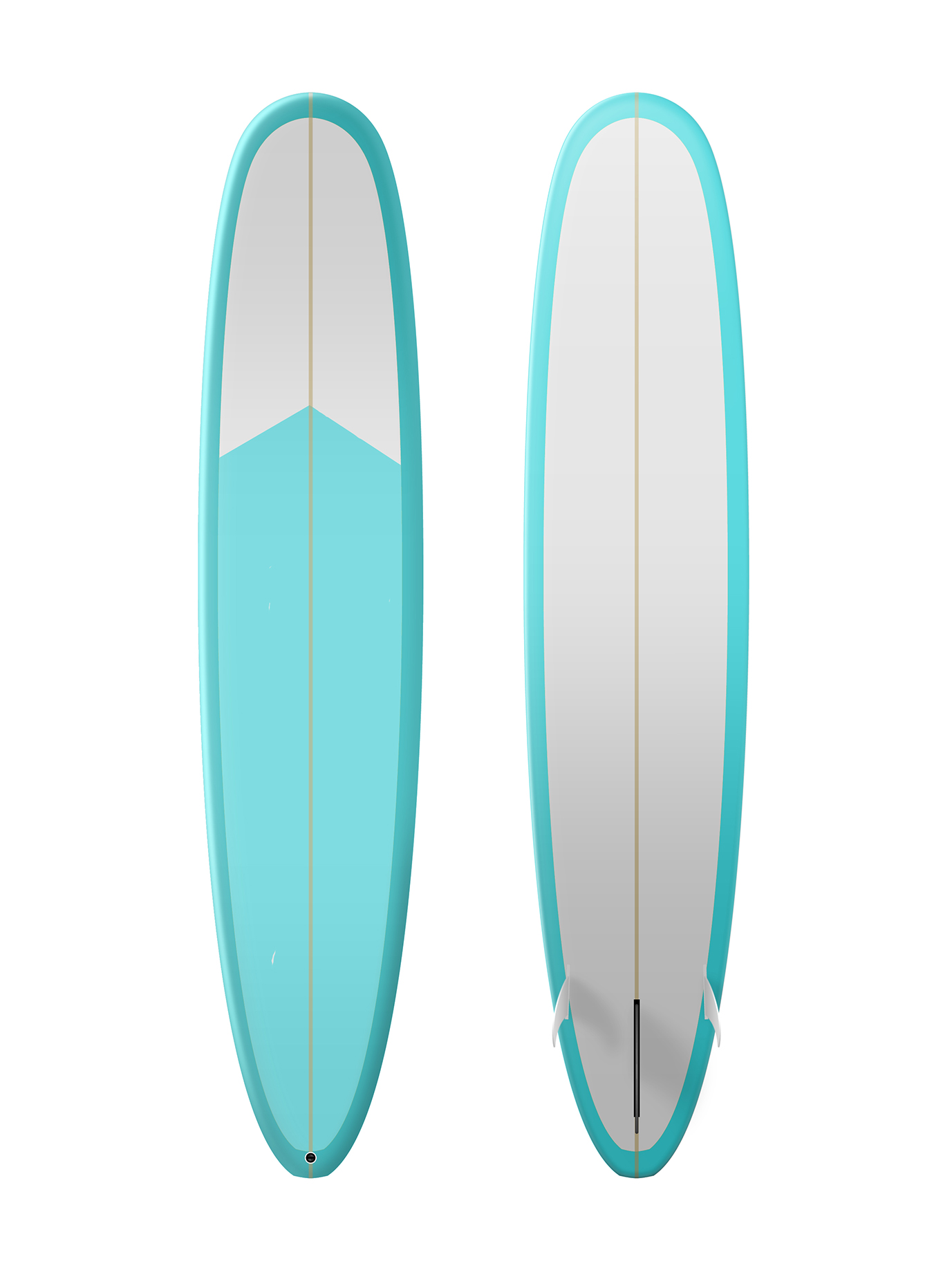 Bright blue and white surfboard