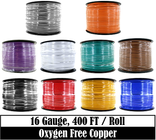 16 Ga OFC Primary Wire 400ft (10 Color Options)