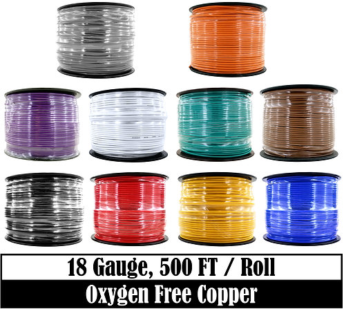 18 Ga OFC Primary Wire 500ft (10 Color Options)