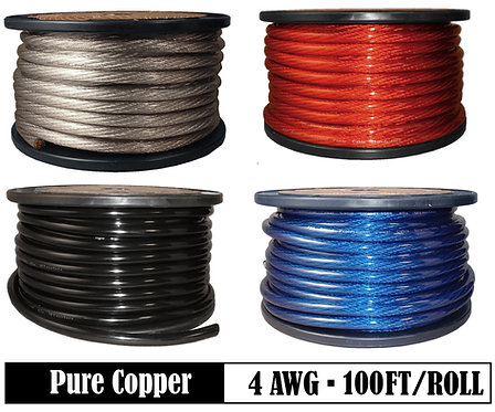 4 Ga OFC Power Cable, 100ft (Option: Black, Red, Blue, Silver)