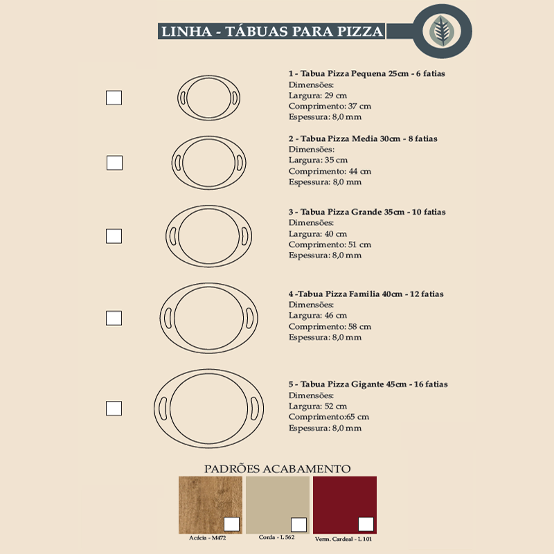 Linha Tabuas para Pizza