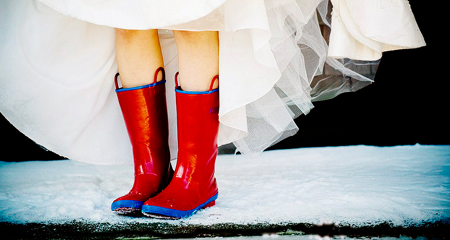 Bride in Wellington Boots