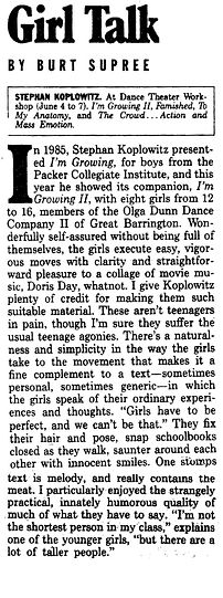 1987 Voice review of I'm Growing II fina
