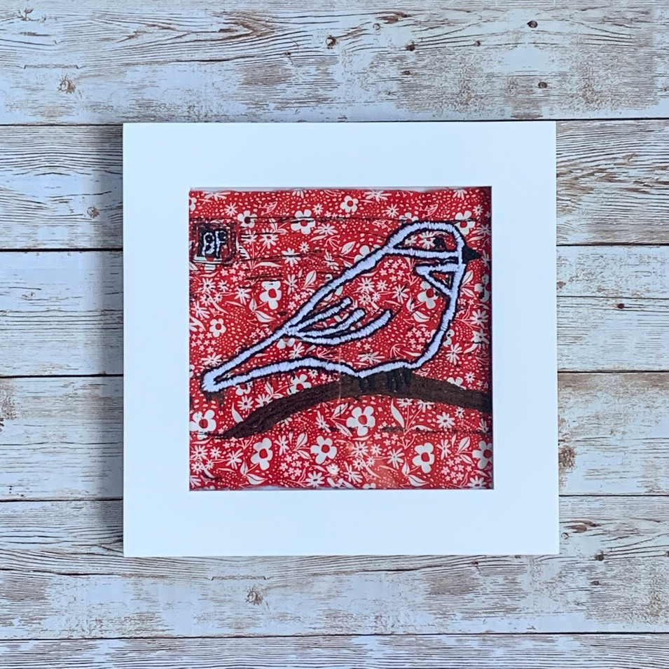 Bird on Red and White