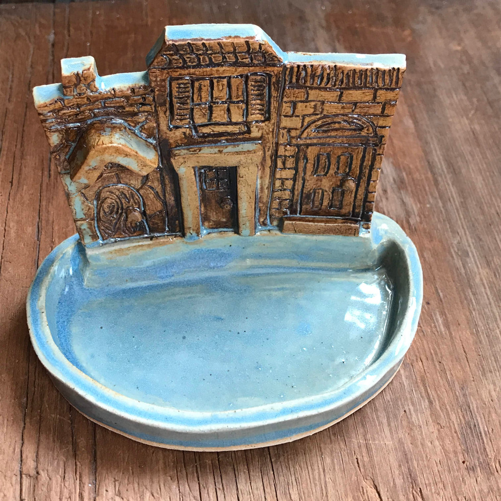 Blue and Brown House Dish
