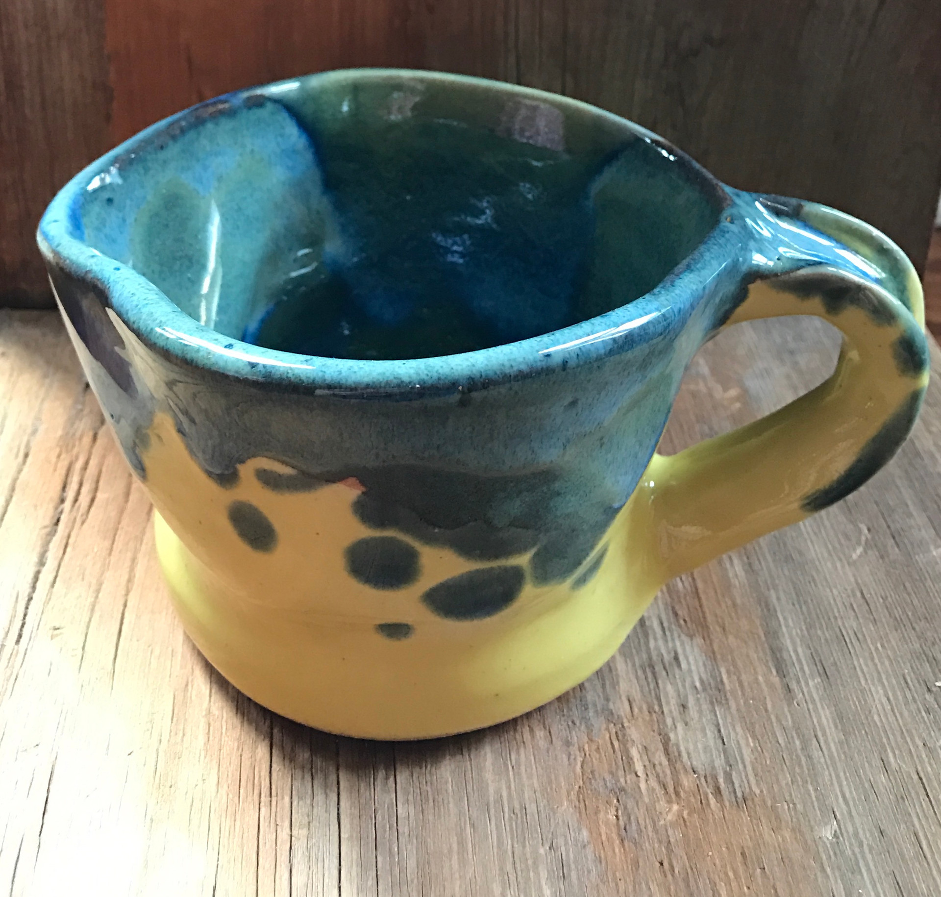 Yellow Pitcher with Blue