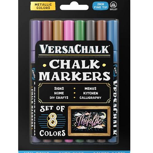 Versachalk Metallic Fine Tip Chalk Markers (8 Pack)