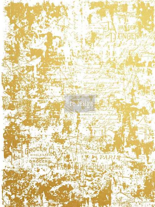 REDESIGN DECOR TRANSFER- GOLD DISTRESSED WALL