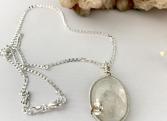 Silver wrapped Clear Quartz Necklace