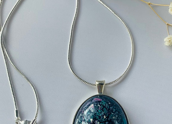 Teal and Purple Pigment Necklace