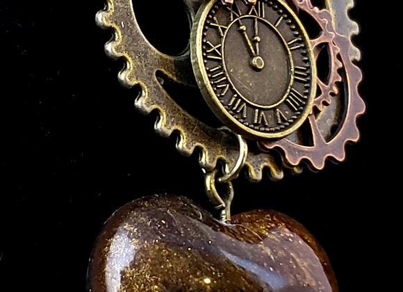 Gear Resin Heart Necklace