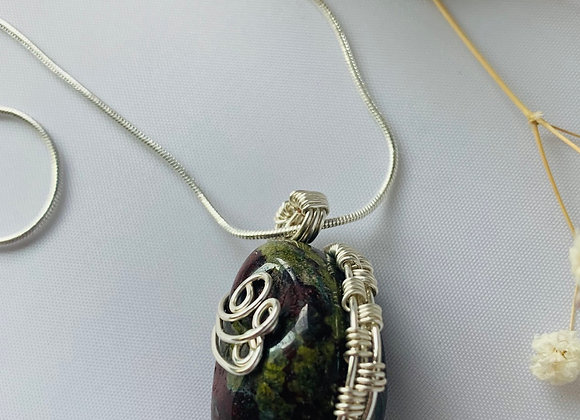 Silver Wrapped Dragon's Skin Stone
